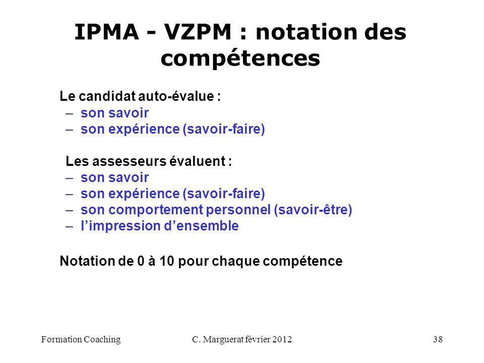 C. Marguerat février 201238 IPMA - VZPM : notation des compétences Le candidat auto-évalue : –son savoir –son expérience (savoir-faire) Les assesseurs