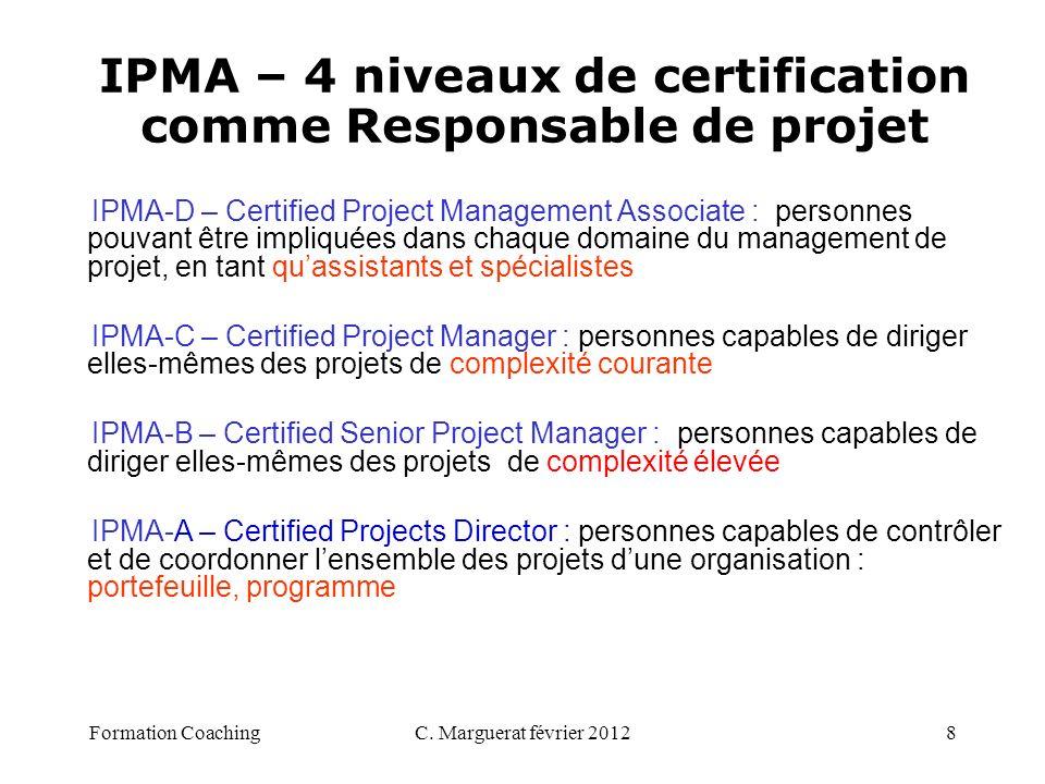 C. Marguerat février 20128 IPMA-D – Certified Project Management Associate : personnes pouvant être impliquées dans chaque domaine du management de pr