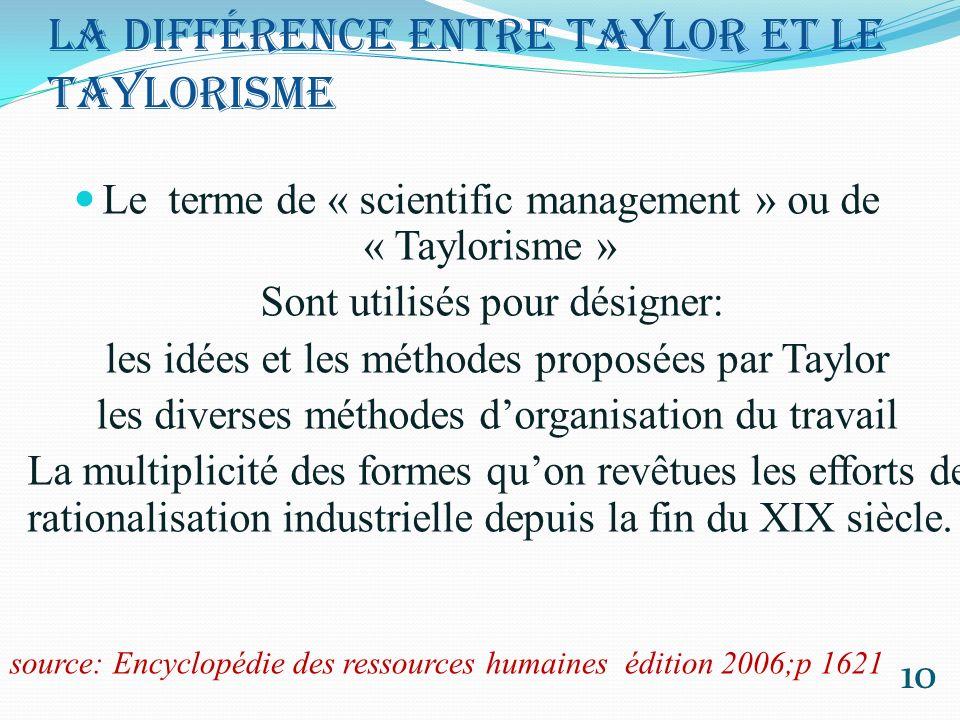 La différence entre Taylor et le Taylorisme Cette distinction permet dévacuer du taylorisme deux phénomènes auxquels il est souvent assimilé aux yeux du grand public: la parcellisation des tâches et le travail à la chaîne 11 Adam Smith et Charles Babbage (1713-1790) (1972-1872) source: Encyclopédie des ressources humaines édition 2006;p 1621