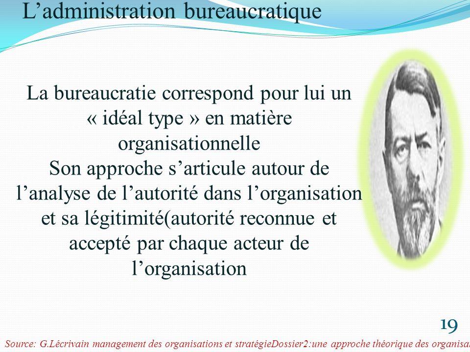 Weber et la rationalisation de lorganisation 20 La théorie de laction rationnelle de Weber vient renforcer lidée dominante selon laquelle il est important de dépersonnaliser les relations de travail en vue de renforcer léquité dans les organisations.