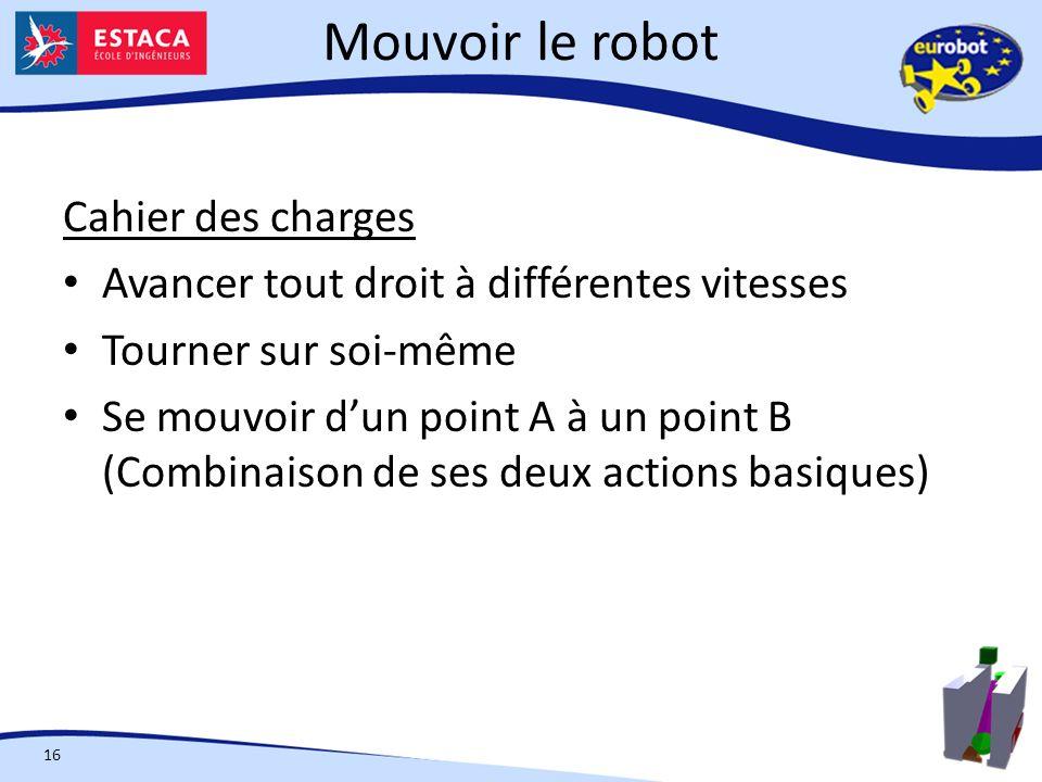 Mouvoir le robot 16 Cahier des charges Avancer tout droit à différentes vitesses Tourner sur soi-même Se mouvoir dun point A à un point B (Combinaison de ses deux actions basiques)