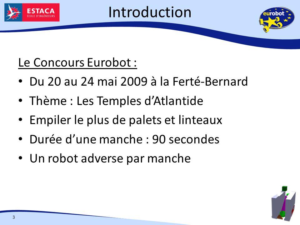 Introduction 3 Le Concours Eurobot : Du 20 au 24 mai 2009 à la Ferté-Bernard Thème : Les Temples dAtlantide Empiler le plus de palets et linteaux Durée dune manche : 90 secondes Un robot adverse par manche