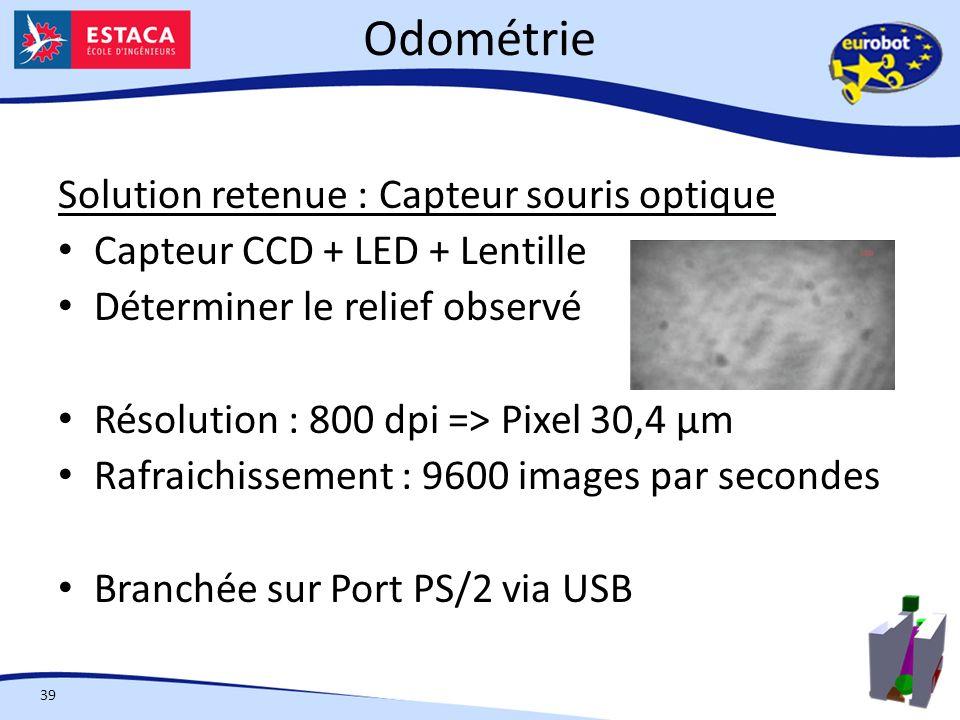 Odométrie 39 Solution retenue : Capteur souris optique Capteur CCD + LED + Lentille Déterminer le relief observé Résolution : 800 dpi => Pixel 30,4 µm Rafraichissement : 9600 images par secondes Branchée sur Port PS/2 via USB