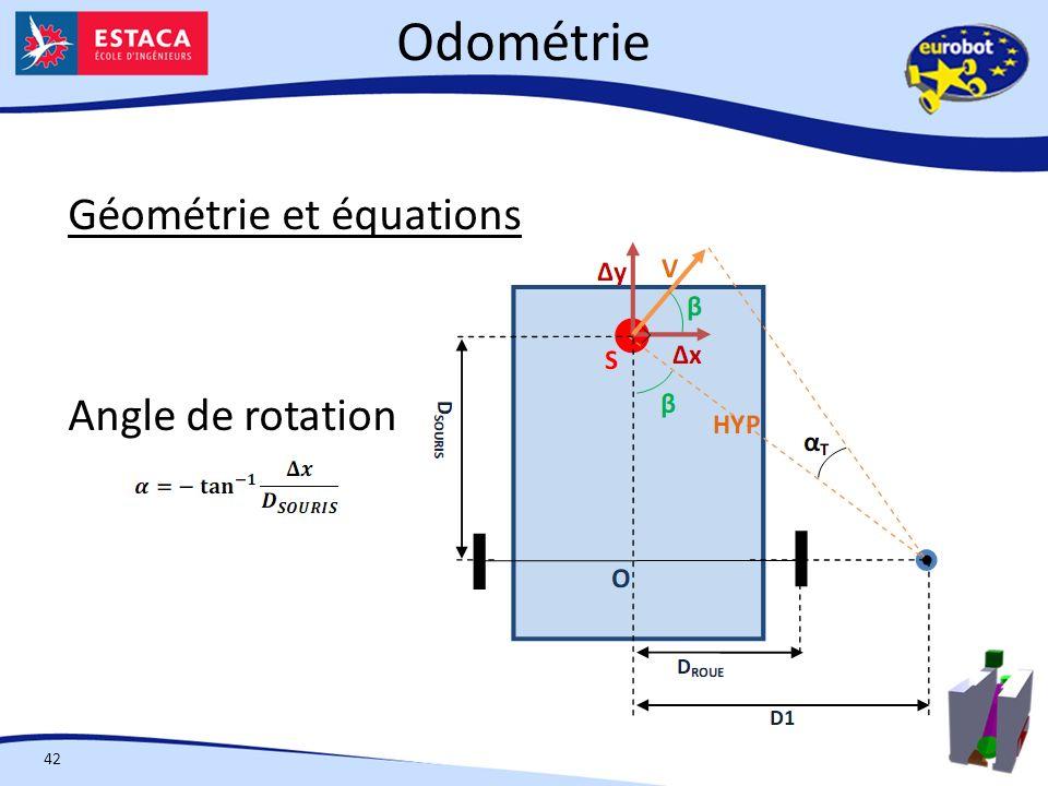 Odométrie 42 Géométrie et équations Angle de rotation