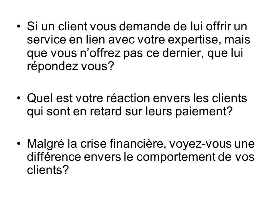 Si un client vous demande de lui offrir un service en lien avec votre expertise, mais que vous noffrez pas ce dernier, que lui répondez vous? Quel est