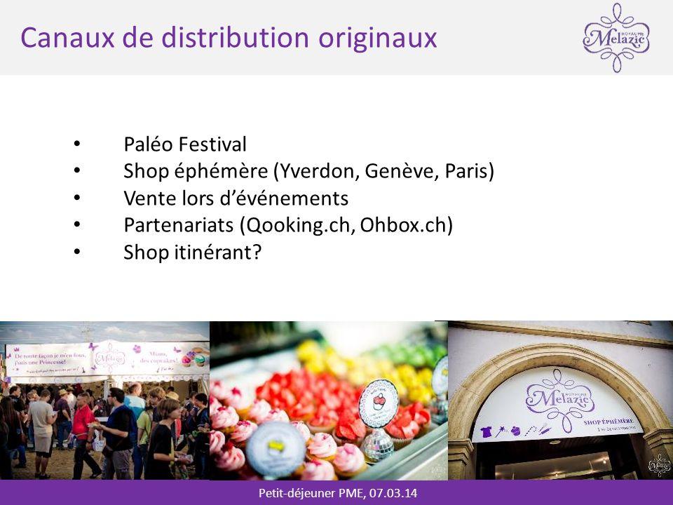 Petit-déjeuner PME, 07.03.14 * Canaux de distribution originaux Paléo Festival Shop éphémère (Yverdon, Genève, Paris) Vente lors dévénements Partenariats (Qooking.ch, Ohbox.ch) Shop itinérant