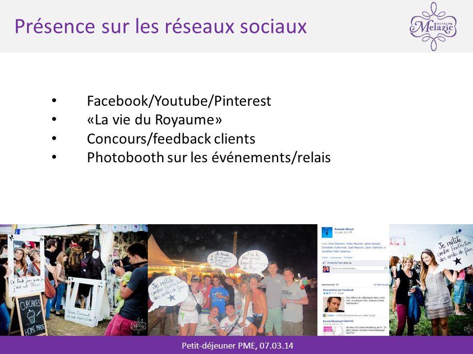 Petit-déjeuner PME, 07.03.14 * Présence sur les réseaux sociaux Facebook/Youtube/Pinterest «La vie du Royaume» Concours/feedback clients Photobooth sur les événements/relais