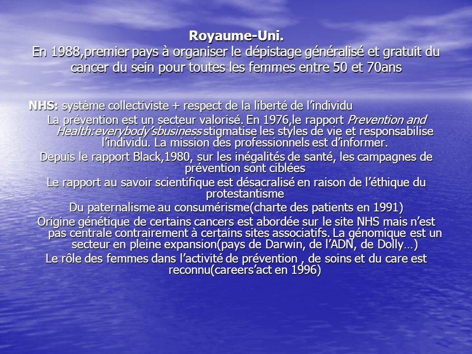 France le plan cancer(2002) est une des 3 priorités nationales du mandat du Président Chirac le dépistage généralisé est proposé depuis janvier 2004 aux femmes entre 50- 74ans(expérimenté dès 1989 dans 10 départements) atteint 51% Le plan cancer sinscrit dans un contexte de concurrence et de mobilisation internationale; le sommet mondial contre le cancer a lieu à Paris en 2000(charte de Paris) retard de la France en matière de prévention et de dépistage.