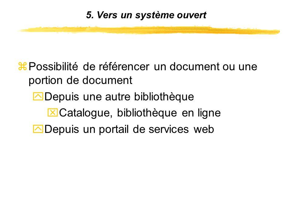 zPossibilité de référencer un document ou une portion de document yDepuis une autre bibliothèque xCatalogue, bibliothèque en ligne yDepuis un portail de services web 5.