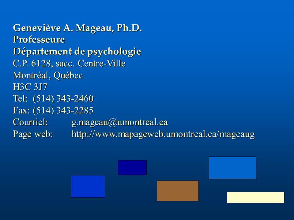 Geneviève A. Mageau, Ph.D. Professeure Département de psychologie C.P. 6128, succ. Centre-Ville Montréal, Québec H3C 3J7 Tel: (514) 343-2460 Fax: (514