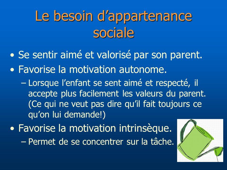 Le besoin dappartenance sociale Se sentir aimé et valorisé par son parent. Favorise la motivation autonome. –Lorsque lenfant se sent aimé et respecté,