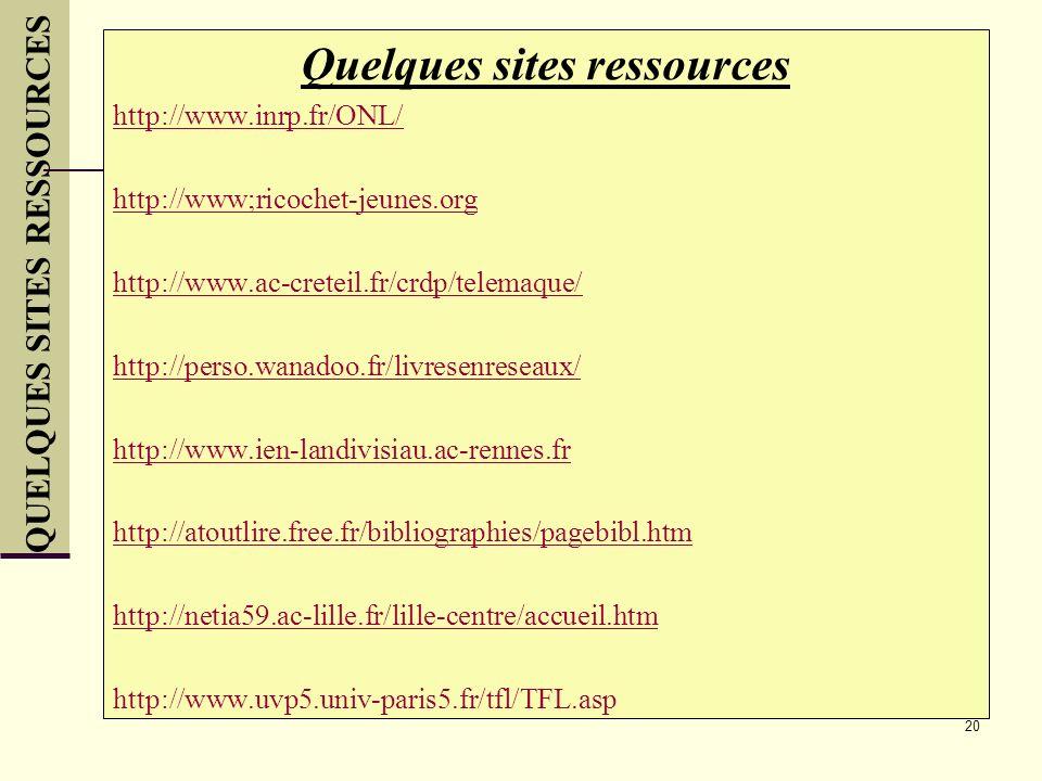 20 Quelques sites ressources http://www.inrp.fr/ONL/ http://www;ricochet-jeunes.org http://www.ac-creteil.fr/crdp/telemaque/ http://perso.wanadoo.fr/l