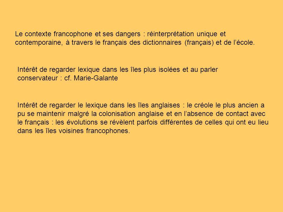 Le contexte francophone et ses dangers : réinterprétation unique et contemporaine, à travers le français des dictionnaires (français) et de lécole.