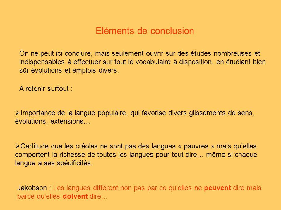 Eléments de conclusion On ne peut ici conclure, mais seulement ouvrir sur des études nombreuses et indispensables à effectuer sur tout le vocabulaire à disposition, en étudiant bien sûr évolutions et emplois divers.