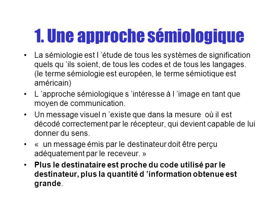 1. Une approche sémiologique La sémiologie est l étude de tous les systèmes de signification quels qu ils soient, de tous les codes et de tous les lan