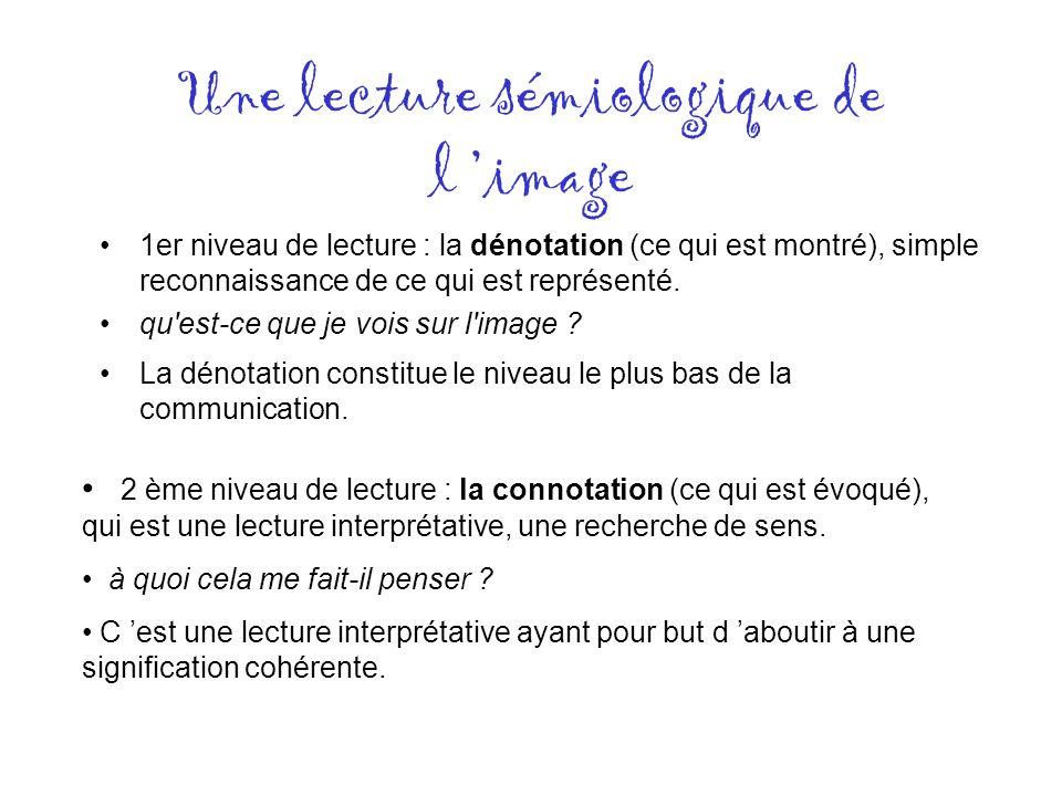 Une lecture sémiologique de l image 1er niveau de lecture : la dénotation (ce qui est montré), simple reconnaissance de ce qui est représenté. qu'est-