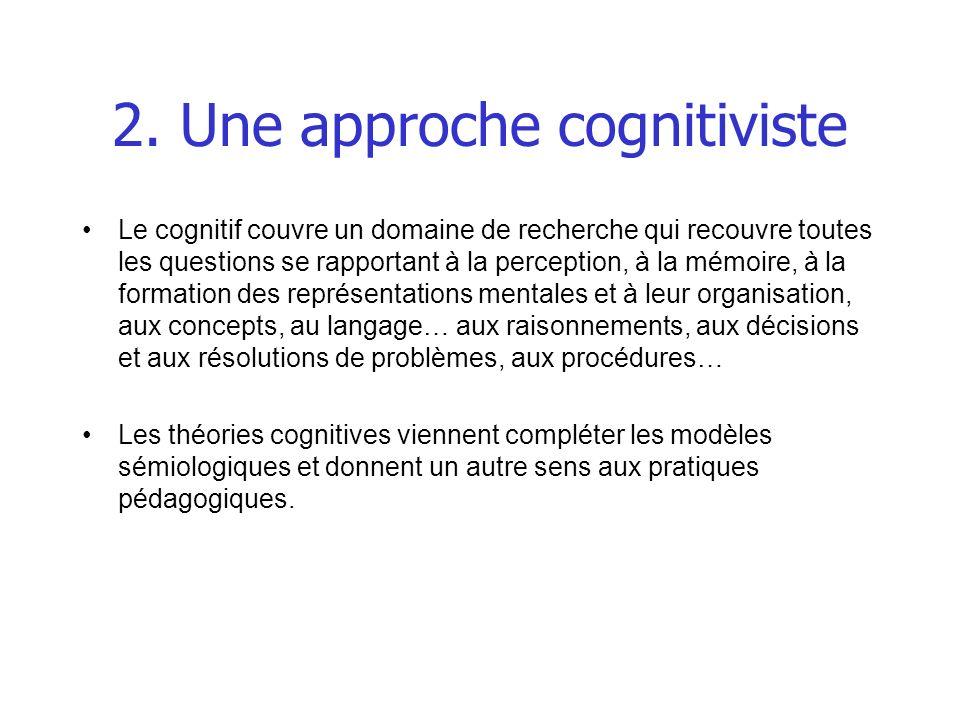 2. Une approche cognitiviste Le cognitif couvre un domaine de recherche qui recouvre toutes les questions se rapportant à la perception, à la mémoire,