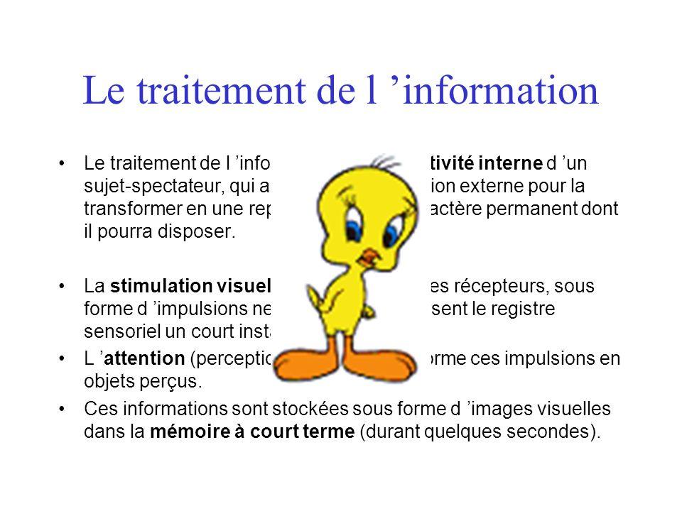 Le traitement de l information Le traitement de l information, c est l activité interne d un sujet-spectateur, qui agit sur une stimulation externe po