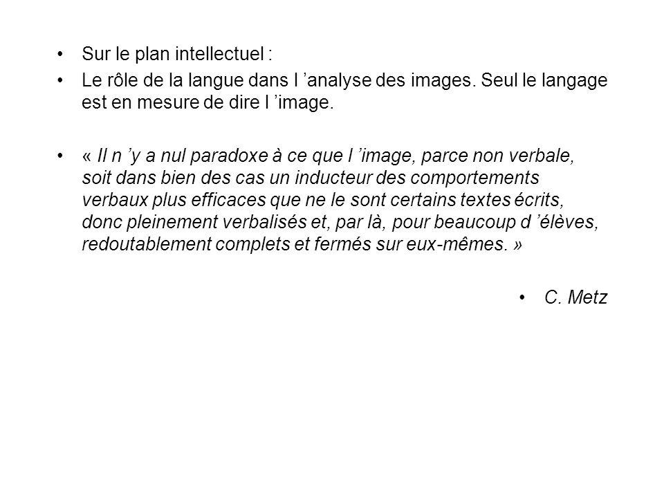 Sur le plan intellectuel : Le rôle de la langue dans l analyse des images. Seul le langage est en mesure de dire l image. « Il n y a nul paradoxe à ce