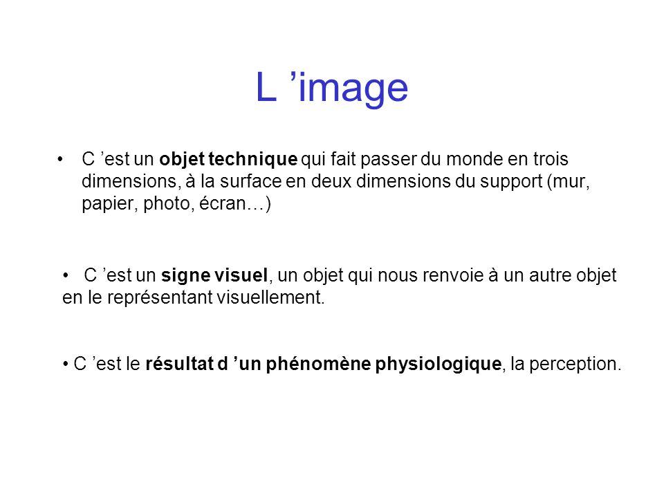 L image C est un objet technique qui fait passer du monde en trois dimensions, à la surface en deux dimensions du support (mur, papier, photo, écran…)