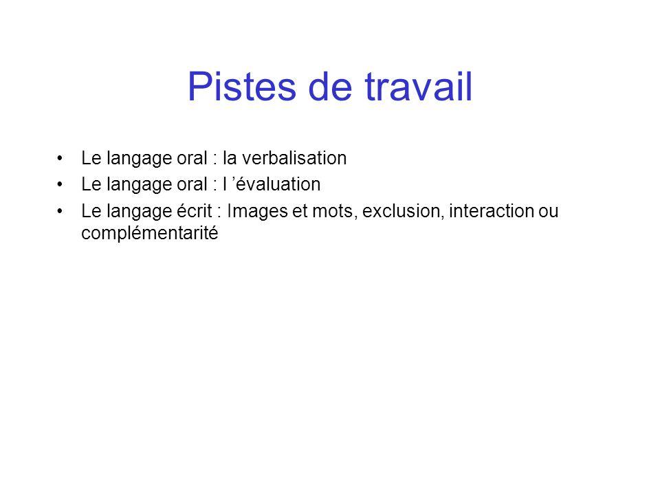 Pistes de travail Le langage oral : la verbalisation Le langage oral : l évaluation Le langage écrit : Images et mots, exclusion, interaction ou compl
