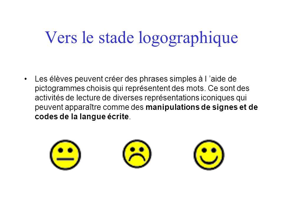 Vers le stade logographique Les élèves peuvent créer des phrases simples à l aide de pictogrammes choisis qui représentent des mots. Ce sont des activ