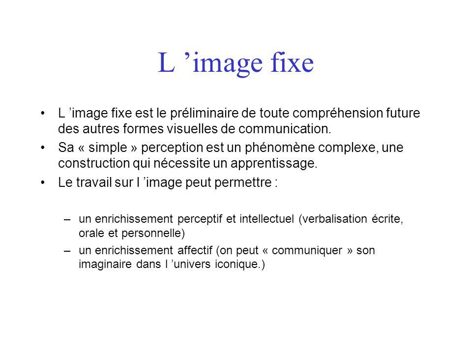 L image fixe L image fixe est le préliminaire de toute compréhension future des autres formes visuelles de communication. Sa « simple » perception est