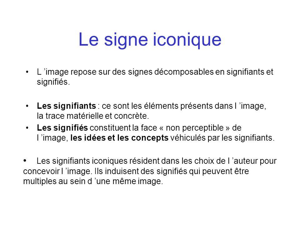 Le signe iconique L image repose sur des signes décomposables en signifiants et signifiés. Les signifiants : ce sont les éléments présents dans l imag