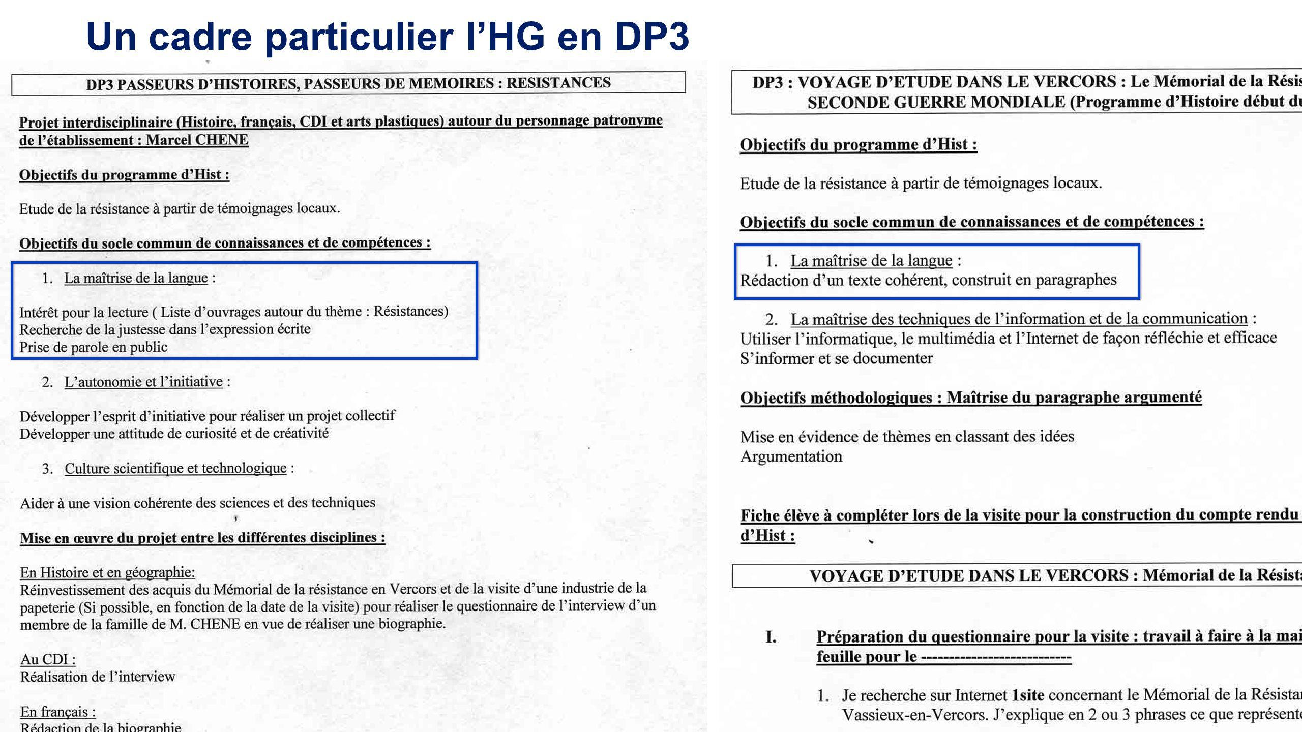 Un cadre particulier lHG en DP3