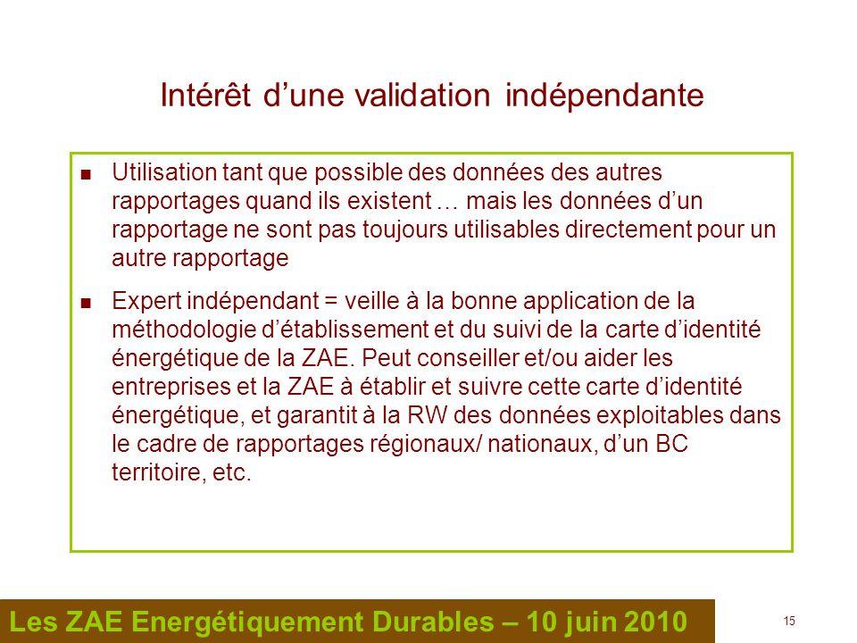 15 Les ZAE Energétiquement Durables – 10 juin 2010 Intérêt dune validation indépendante Utilisation tant que possible des données des autres rapportag