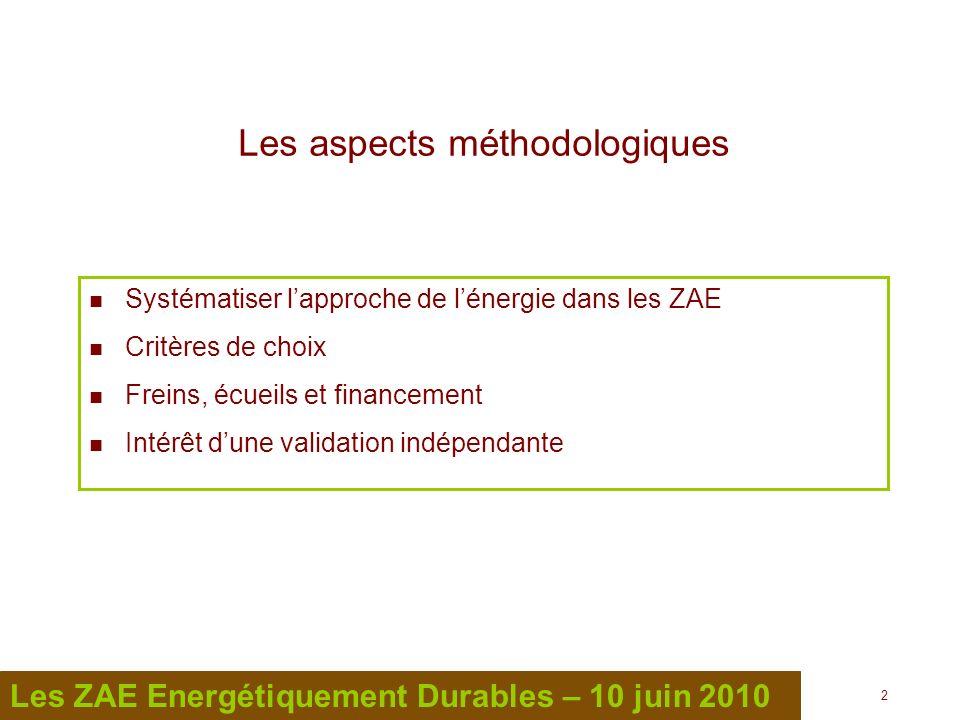 2 2 Les ZAE Energétiquement Durables – 10 juin 2010 Les aspects méthodologiques Systématiser lapproche de lénergie dans les ZAE Critères de choix Frei