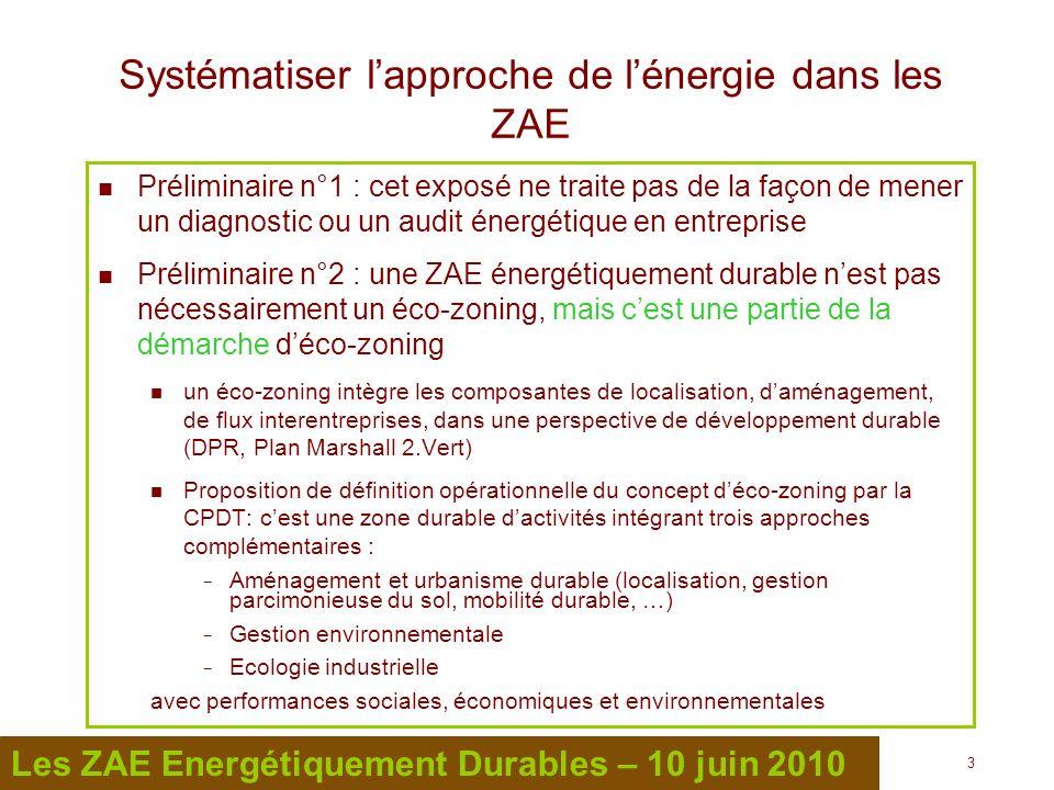 4 4 Les ZAE Energétiquement Durables – 10 juin 2010 Systématiser lapproche de lénergie dans les ZAE Toutes les ZAE peuvent (doivent ?) devenir énergétiquement durables Laction est toujours plus facile quand une structure ou une personne a de la visibilité sur lensemble de ce qui la concerne