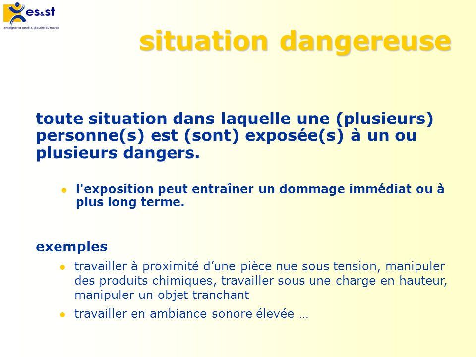 situation dangereuse toute situation dans laquelle une (plusieurs) personne(s) est (sont) exposée(s) à un ou plusieurs dangers. l'exposition peut entr