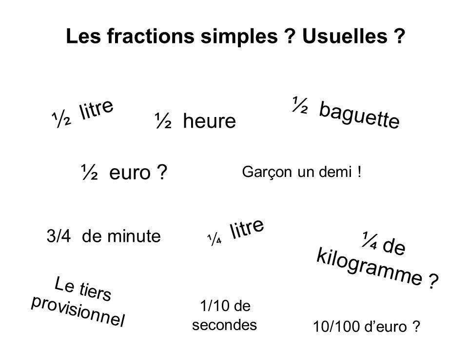 Les fractions simples ? Usuelles ? ½ litre ½ heure ½ baguette ½ euro ? Garçon un demi ! 3/4 de minute ¼ litre ¼ de kilogramme ? Le tiers provisionnel