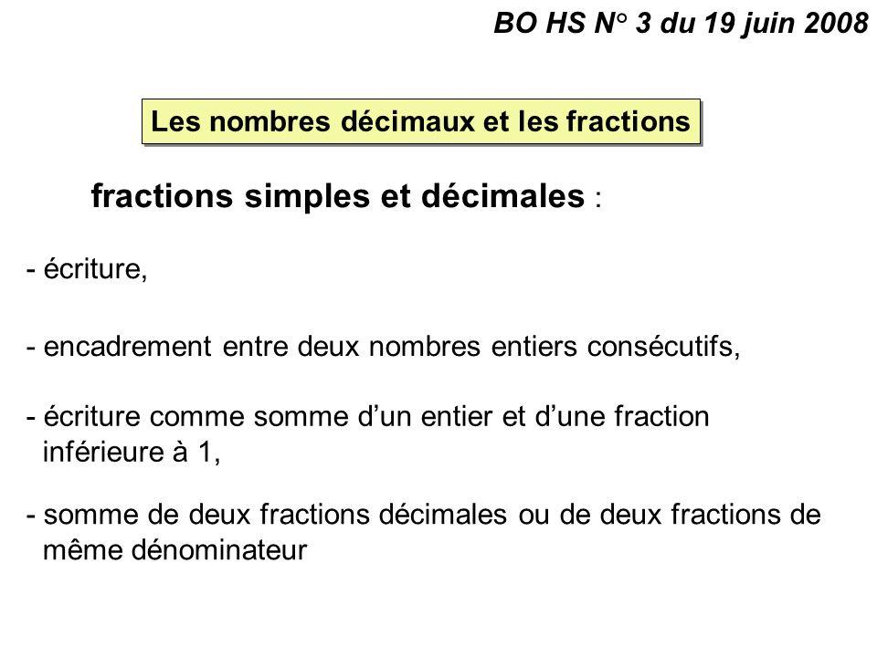 fractions simples et décimales : - écriture, Les nombres décimaux et les fractions BO HS N° 3 du 19 juin 2008 - encadrement entre deux nombres entiers