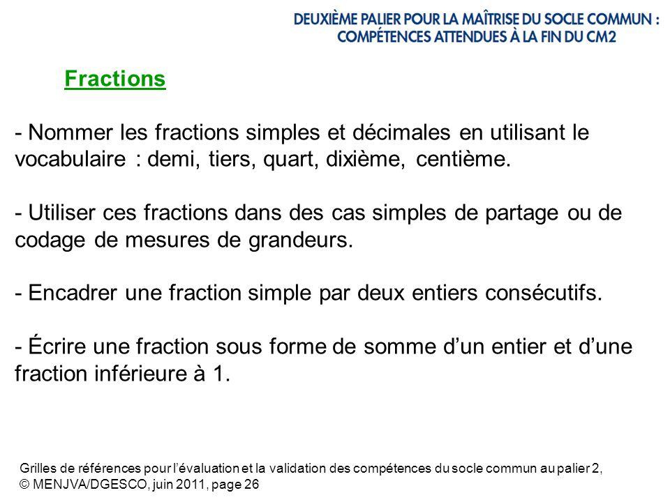 Fractions - Nommer les fractions simples et décimales en utilisant le vocabulaire : demi, tiers, quart, dixième, centième. - Utiliser ces fractions da