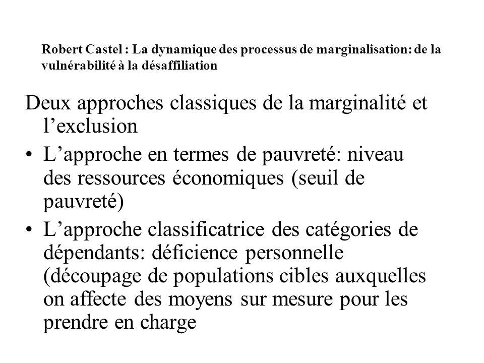Robert Castel : La dynamique des processus de marginalisation: de la vulnérabilité à la désaffiliation Deux approches classiques de la marginalité et