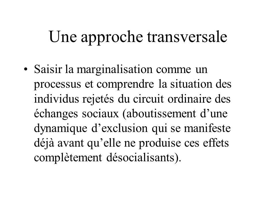Une approche transversale Saisir la marginalisation comme un processus et comprendre la situation des individus rejetés du circuit ordinaire des échan