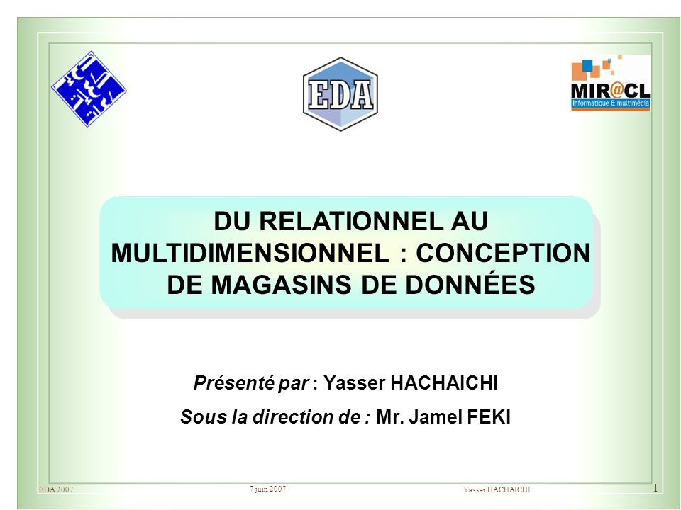 7 juin 2007 Yasser HACHAICHIEDA 2007 1 DU RELATIONNEL AU MULTIDIMENSIONNEL : CONCEPTION DE MAGASINS DE DONNÉES Présenté par : Yasser HACHAICHI Sous la