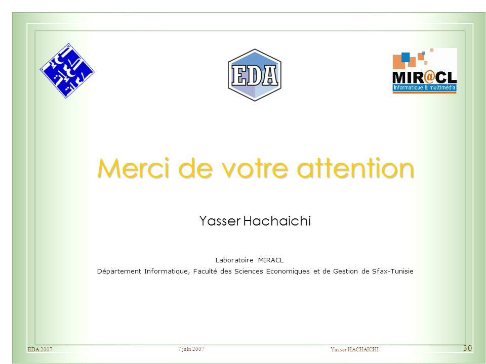 7 juin 2007 Yasser HACHAICHIEDA 2007 30 Merci de votre attention Yasser Hachaichi Département Informatique, Faculté des Sciences Economiques et de Ges