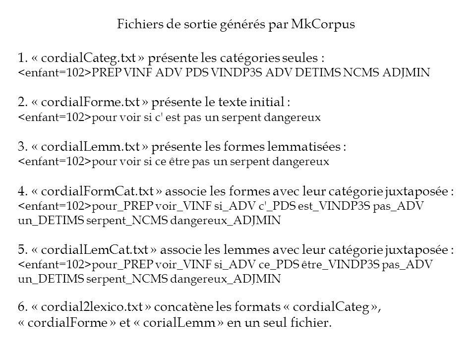1. « cordialCateg.txt » présente les catégories seules : PREP VINF ADV PDS VINDP3S ADV DETIMS NCMS ADJMIN 2. « cordialForme.txt » présente le texte in