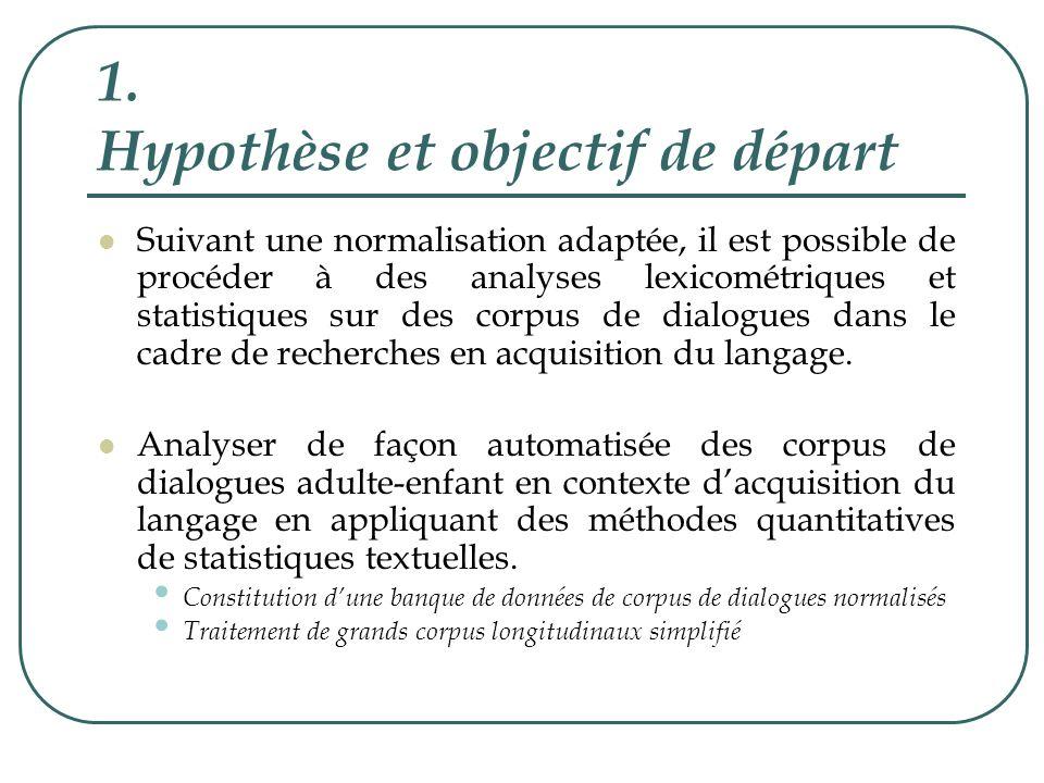 1. Hypothèse et objectif de départ Suivant une normalisation adaptée, il est possible de procéder à des analyses lexicométriques et statistiques sur d