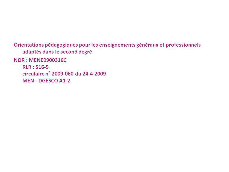 Orientations pédagogiques pour les enseignements généraux et professionnels adaptés dans le second degré NOR : MENE0900316C RLR : 516-5 circulaire n° 2009-060 du 24-4-2009 MEN - DGESCO A1-2