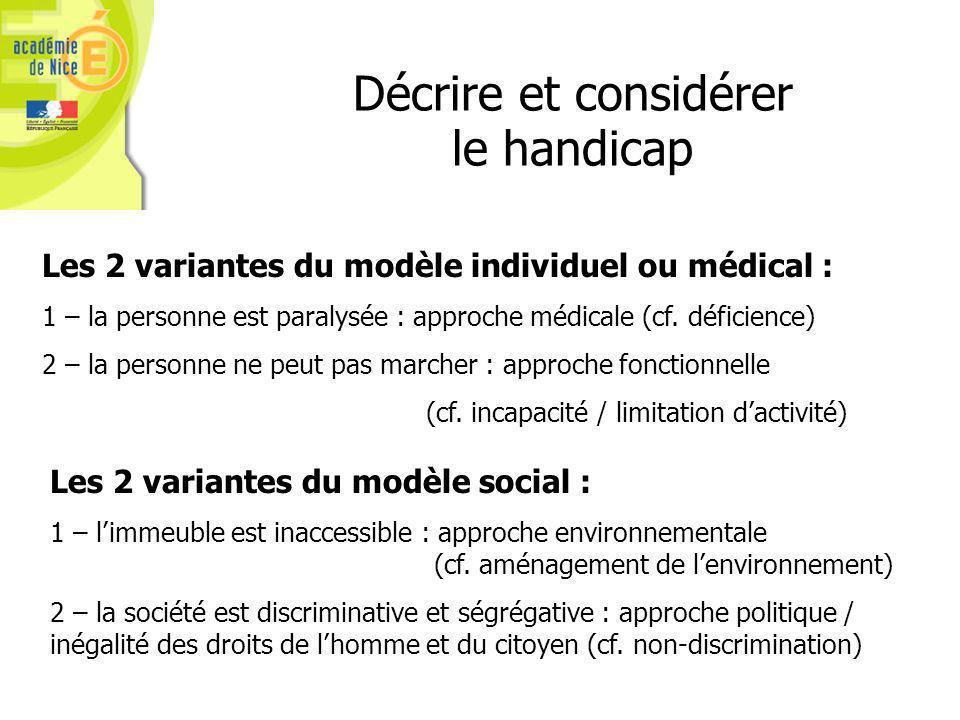 Les 2 variantes du modèle individuel ou médical : 1 – la personne est paralysée : approche médicale (cf.