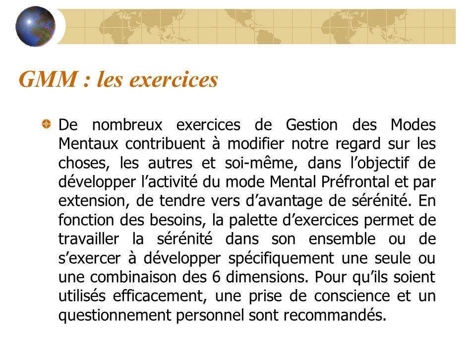GMM : les exercices De nombreux exercices de Gestion des Modes Mentaux contribuent à modifier notre regard sur les choses, les autres et soi-même, dan