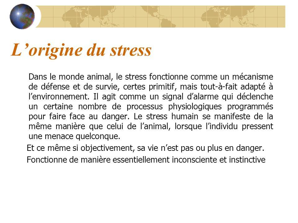 Lorigine du stress: traitement de linformation par le cerveau Caractéristiques des territoires cérébraux (contenants) 3 cerveaux: reptilien, limbique, préfrontal Trois réactions possibles à un stimulus (contenu) selon les territoires concernés Apparition du stress si information non traité par le « bon » territoire cérébral