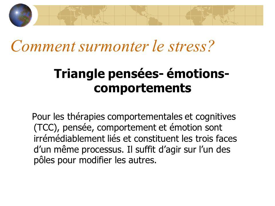 Comment surmonter le stress? Triangle pensées- émotions- comportements Pour les thérapies comportementales et cognitives (TCC), pensée, comportement e
