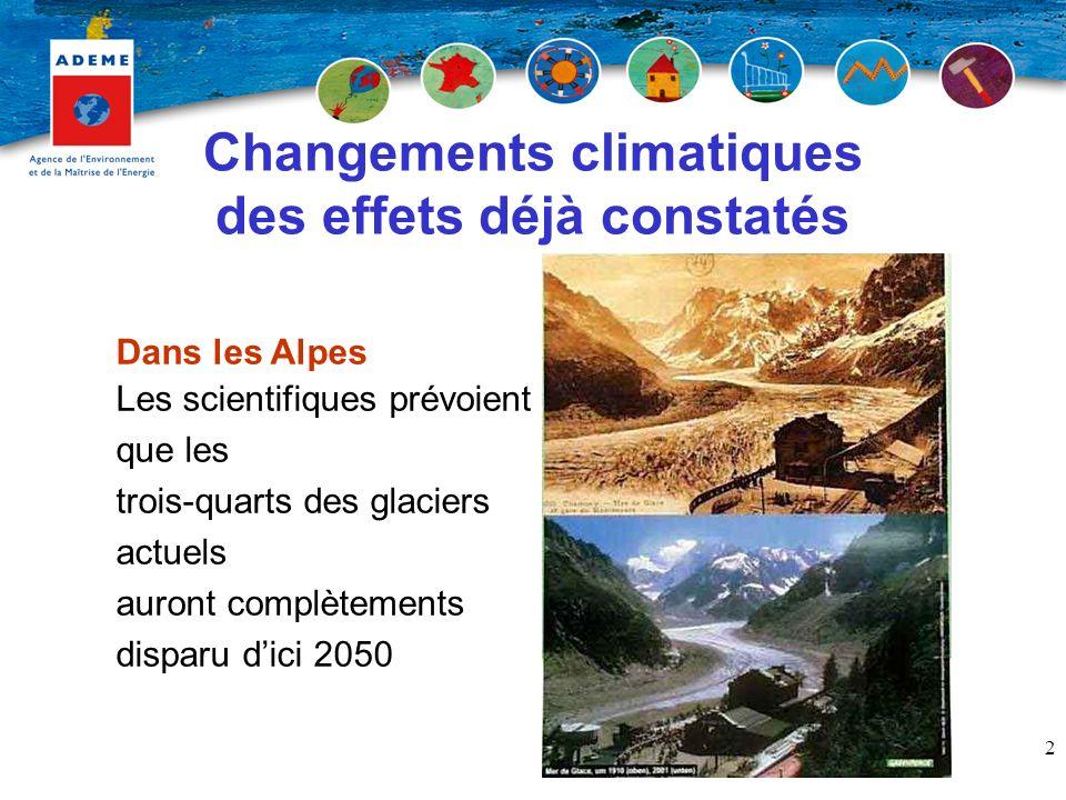 2 Changements climatiques des effets déjà constatés Dans les Alpes Les scientifiques prévoient que les trois-quarts des glaciers actuels auront complètements disparu dici 2050