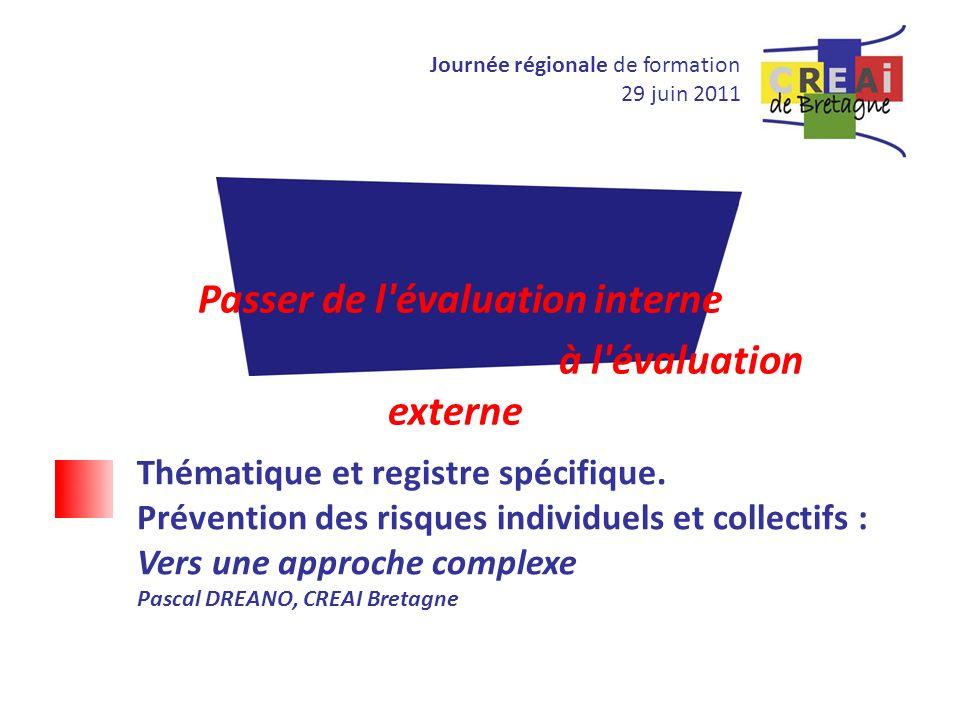 Journée régionale de formation 29 juin 2011 Passer de l'évaluation interne à l'évaluation externe Thématique et registre spécifique. Prévention des ri