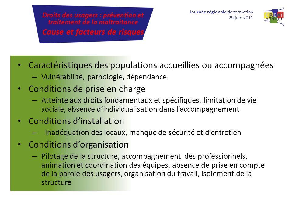 Caractéristiques des populations accueillies ou accompagnées – Vulnérabilité, pathologie, dépendance Conditions de prise en charge – Atteinte aux droi
